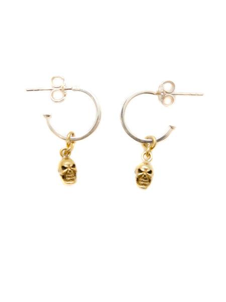 Silver Hoop Earrings With Brass Skulls