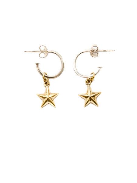 Silver Hoop Earrings With Brass Stars