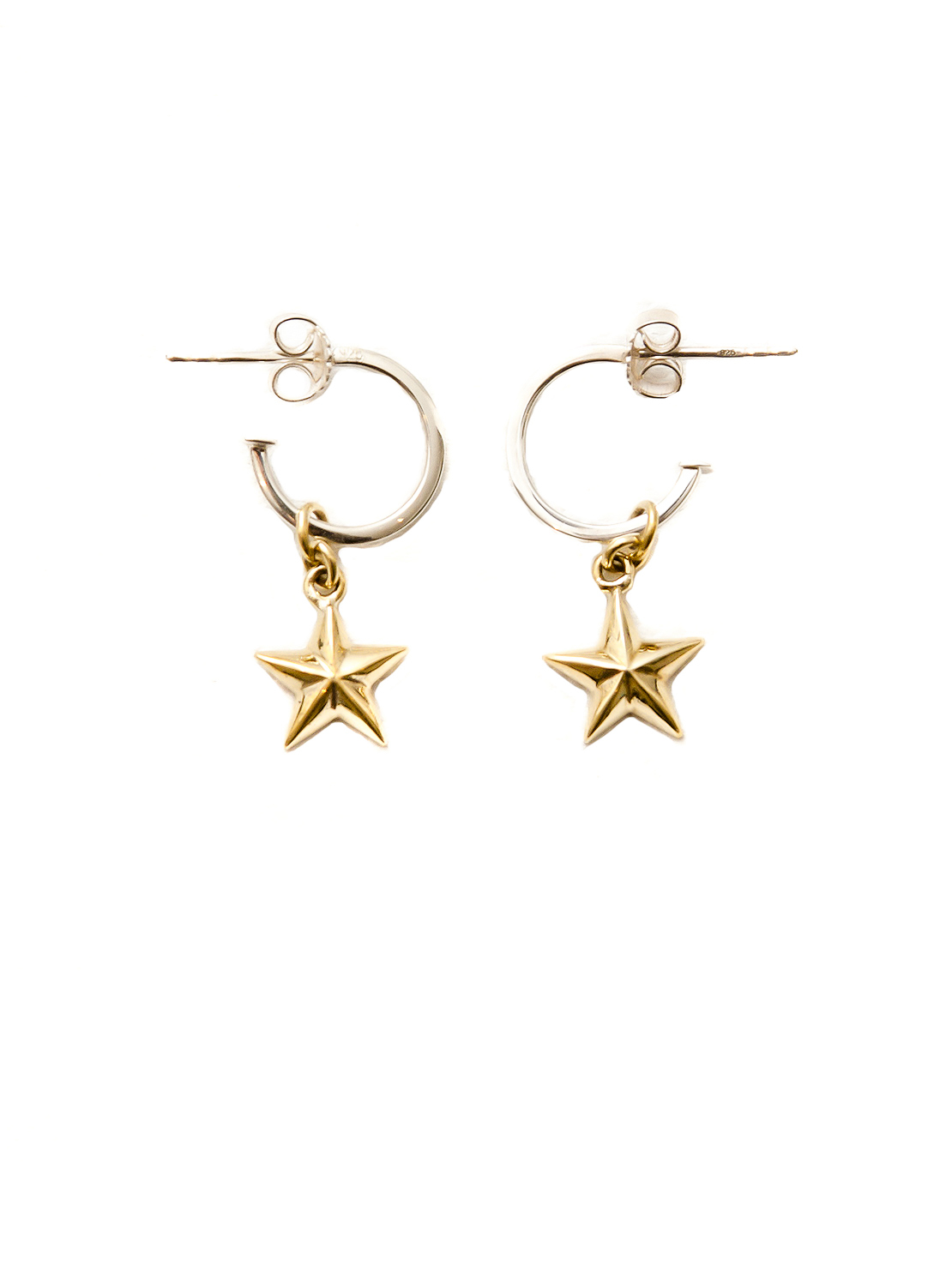 Silver Hoop Earrings With Brass Stars