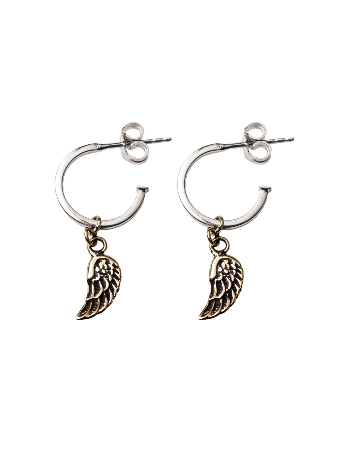 Silver Hoop Earrings With Brass Wings