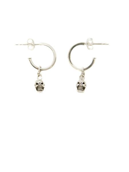 Silver Hoop Earrings With Silver Skulls