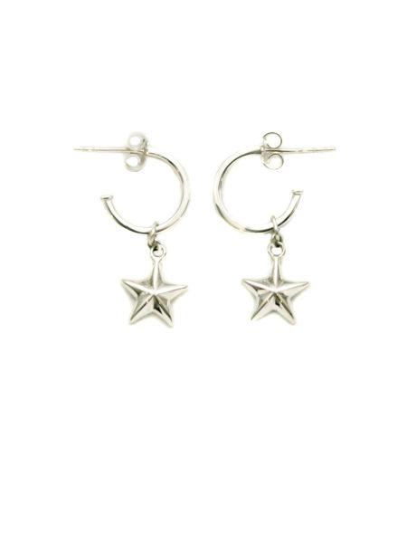 Silver Hoop Earrings With Silver Stars