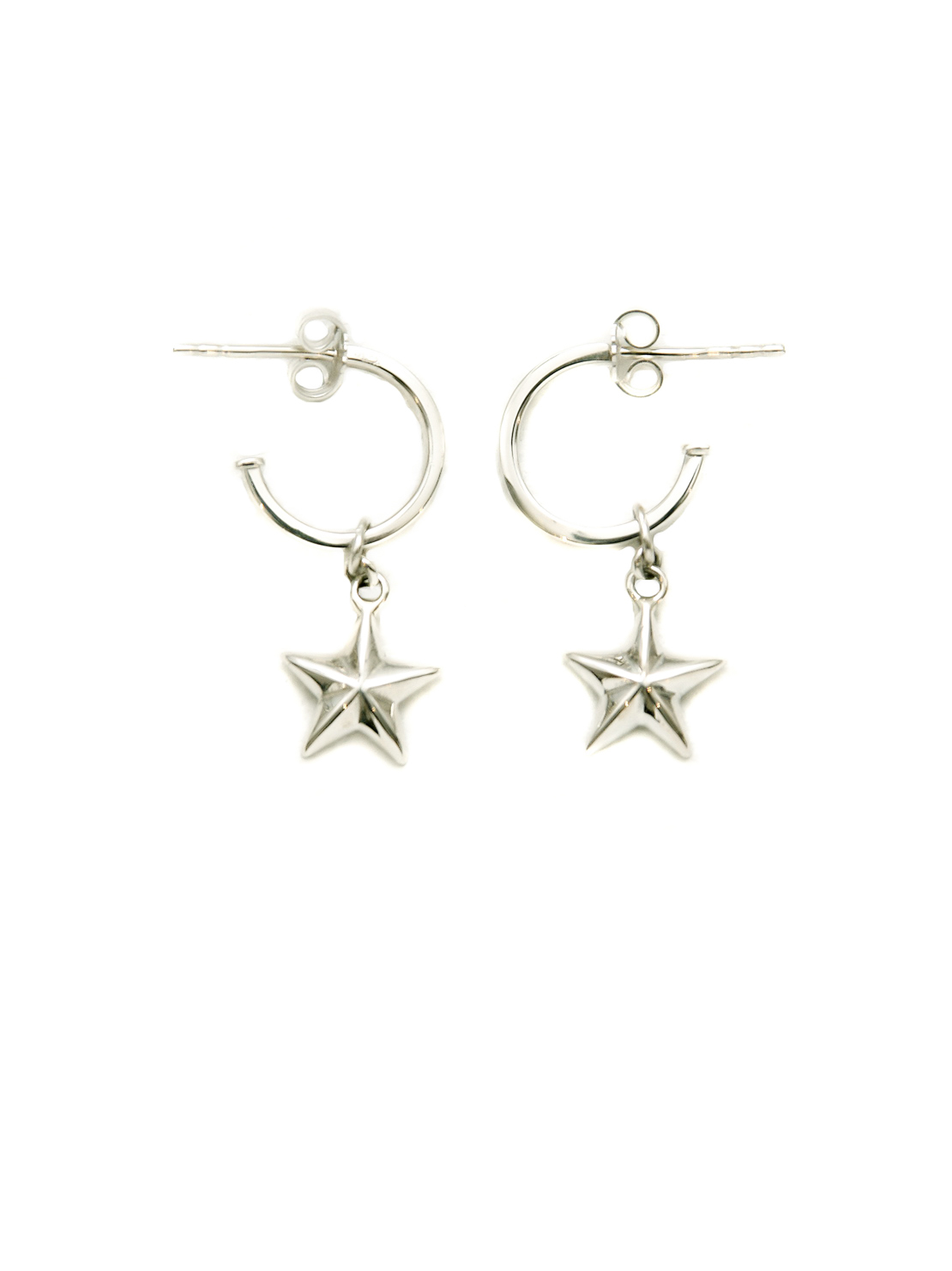 Silver Hoop Earrings With Silver Stars