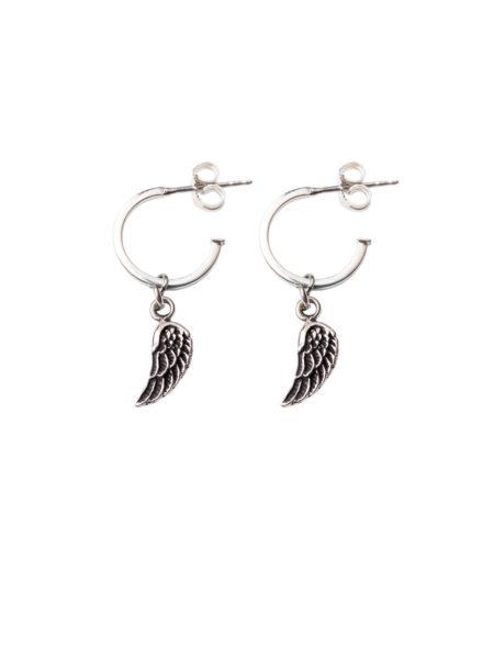 Silver Hoop Earrings With Silver Wings