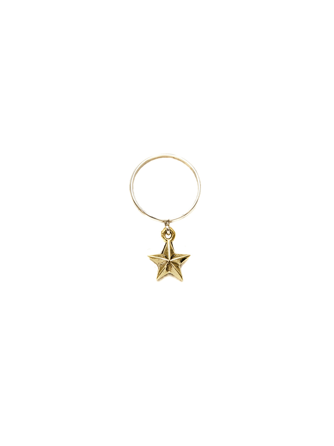 Silver Stack Ring With Brass Star