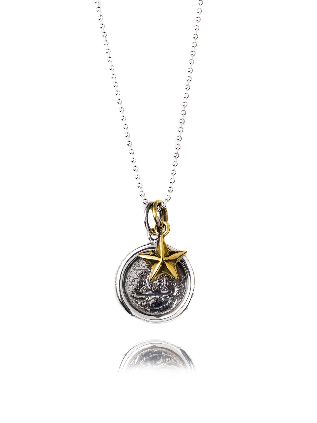 Silver Wax Seal Necklace - Brass Star