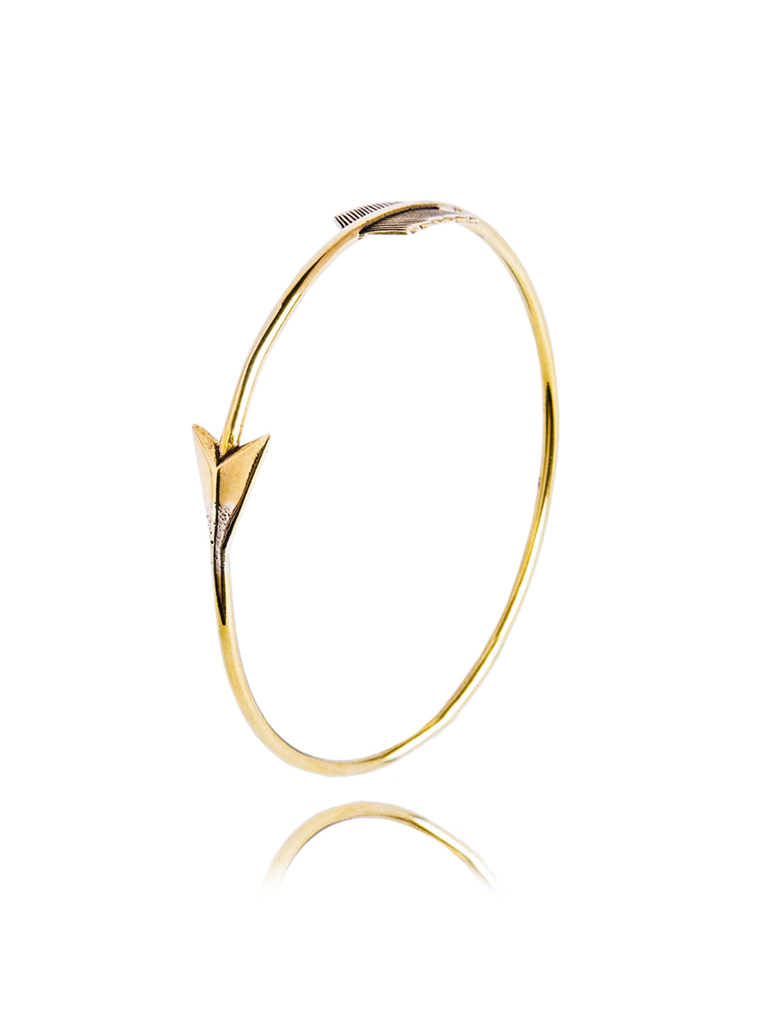 Slim Brass Arrow Bangle
