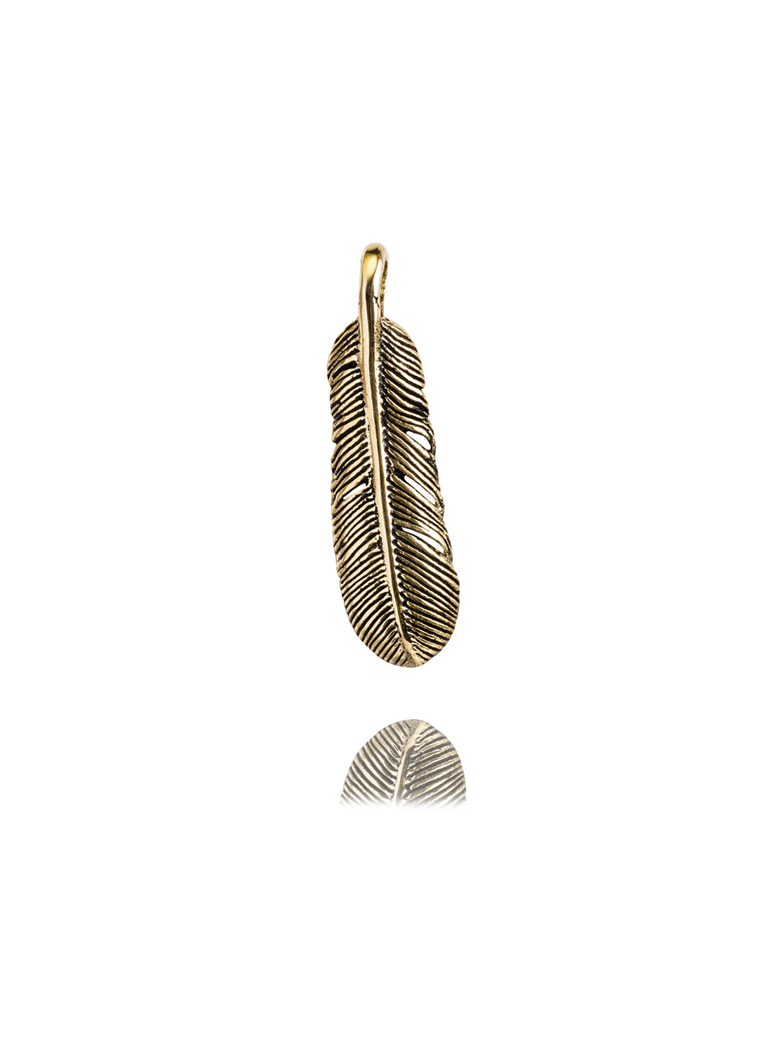 Small Brass Feather Charm