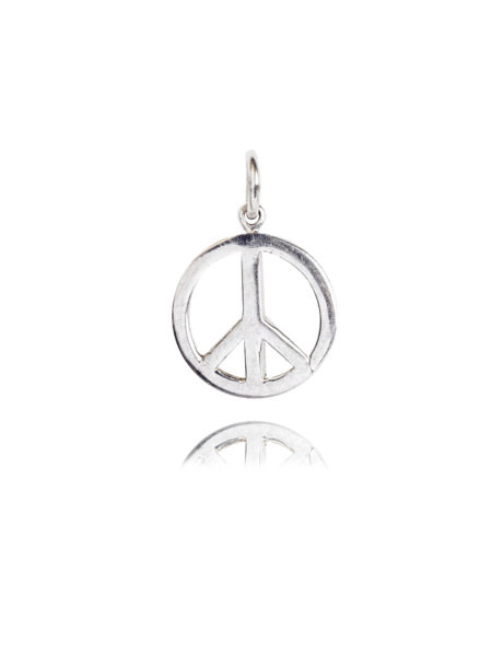 Small Silver Peace Sign Charm