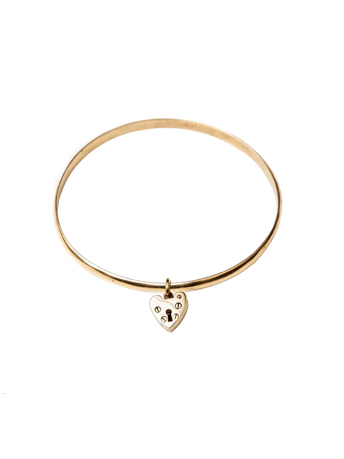 Tiny Brass Heart Bangle