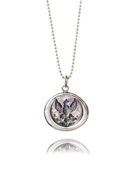 White Bronze Eagle Seal Necklace