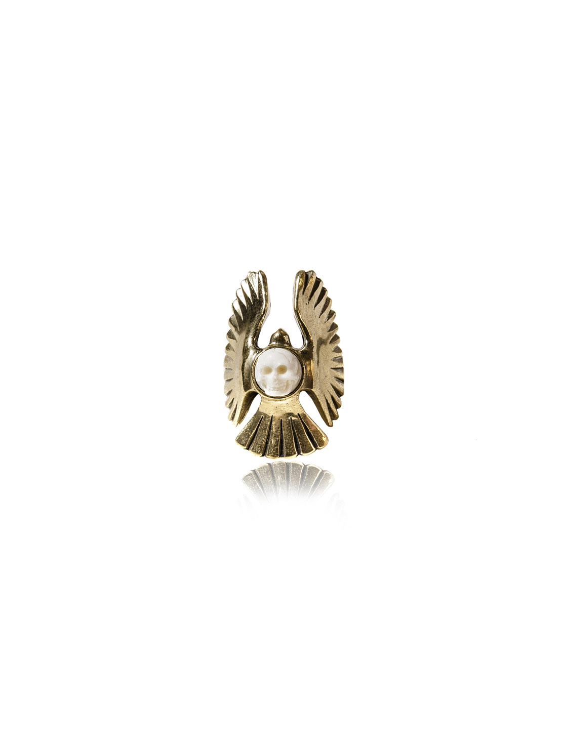 Brass Wing Ring With Bone Skull