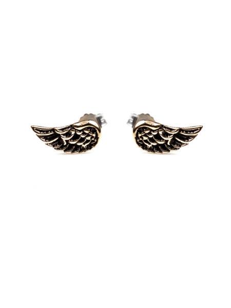 Wing Stud Earrings - Brass