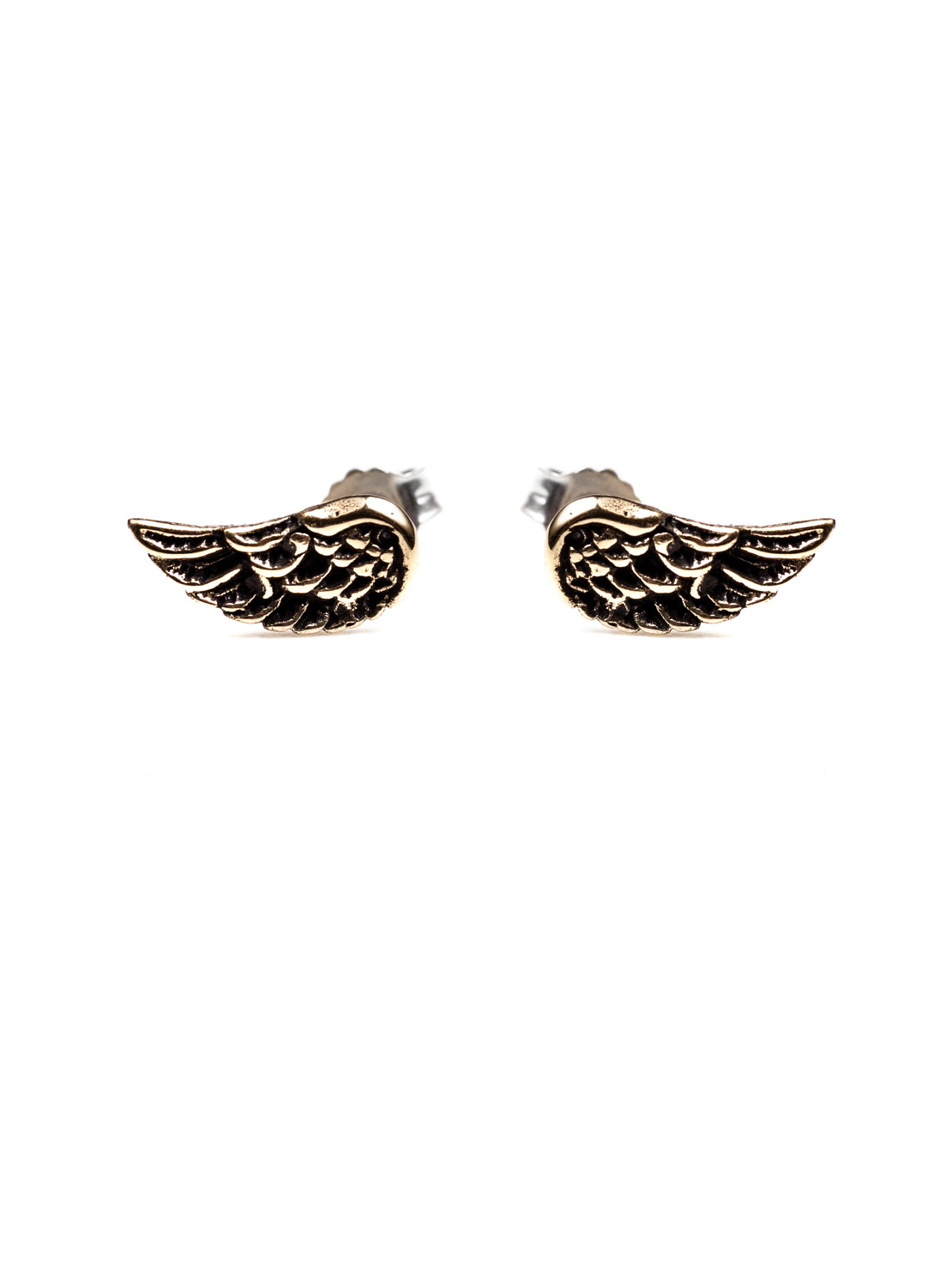 Wing Stud Earrings - Brass