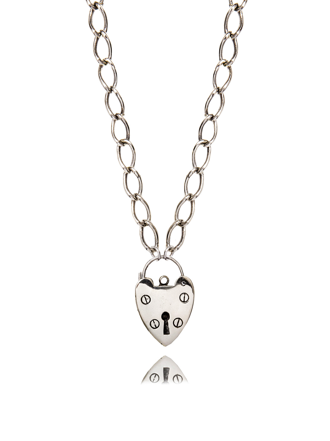 XL Chunky White Bronze Heart Necklace