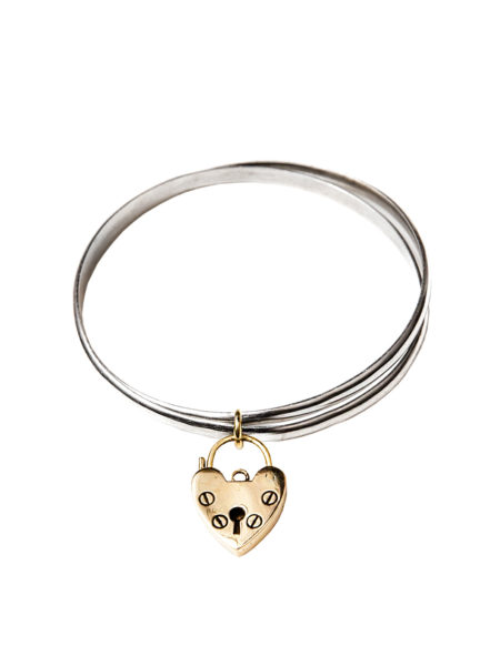 Double Mixed Metal Heart Bangle