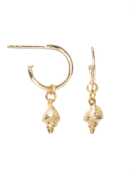 Gold Whelk Shell Earrings