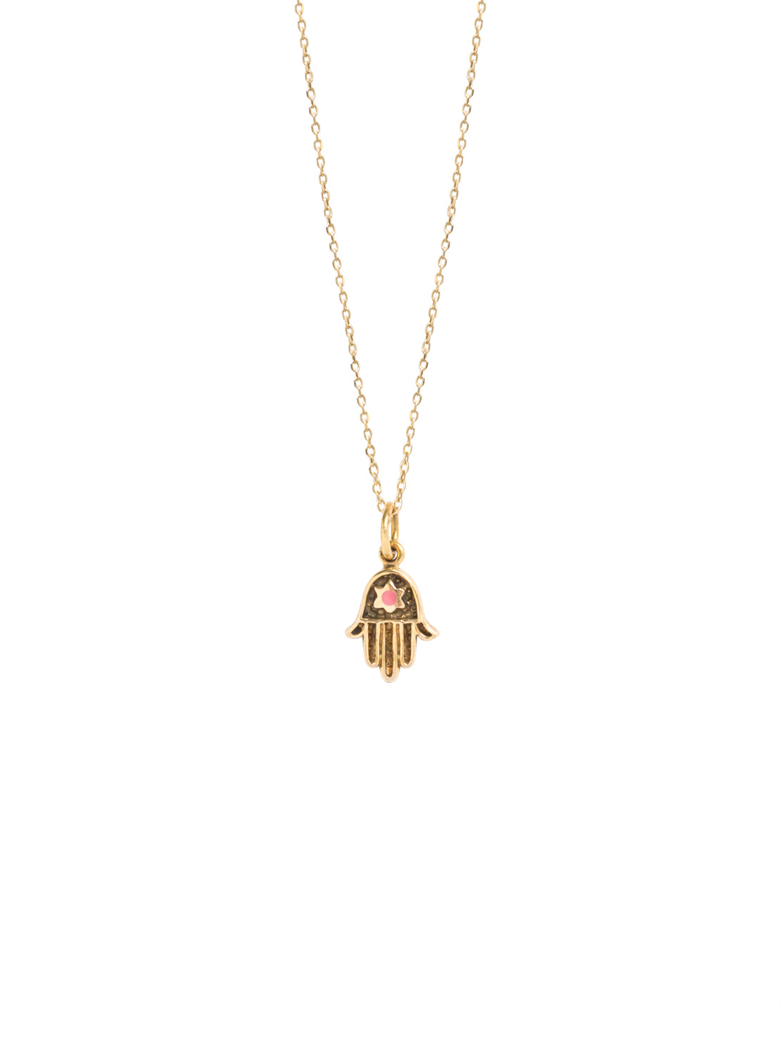Tiny Gold Fatima Hand On Trace Chain