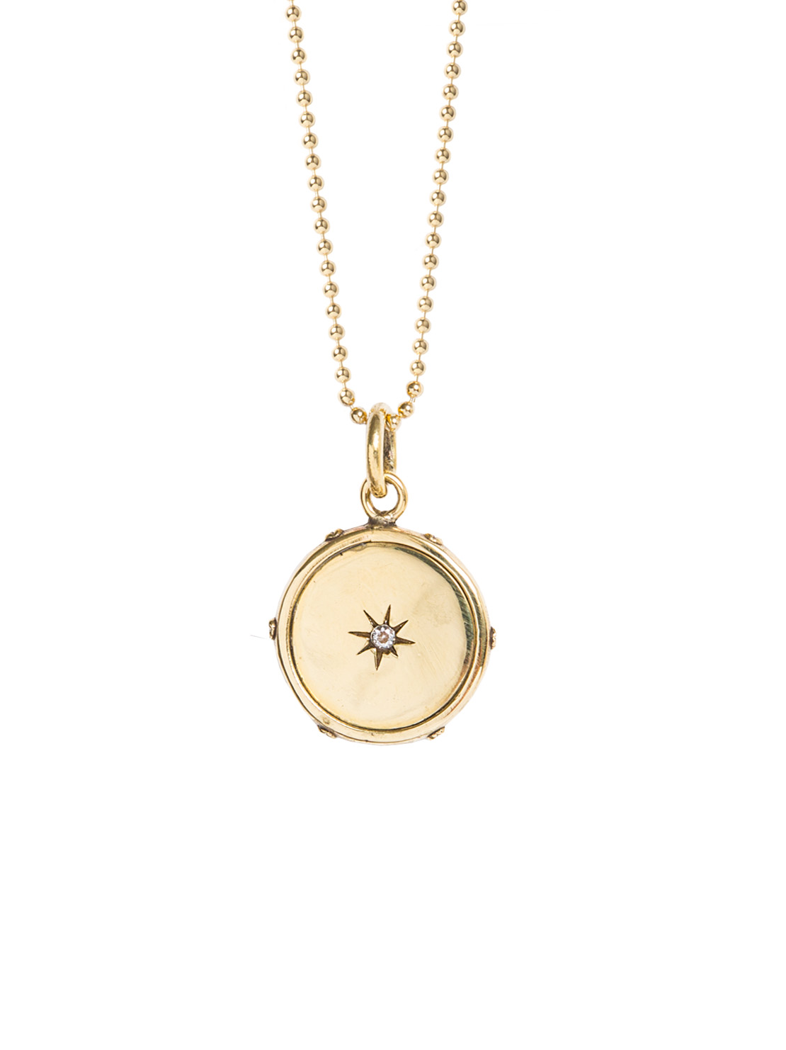 Gold Diamond Disc Necklace