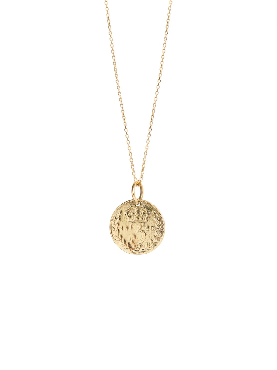 Gold Three Penny Piece On Trace Chain