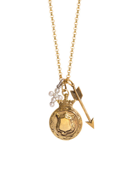 Gold Shield Charm Necklace