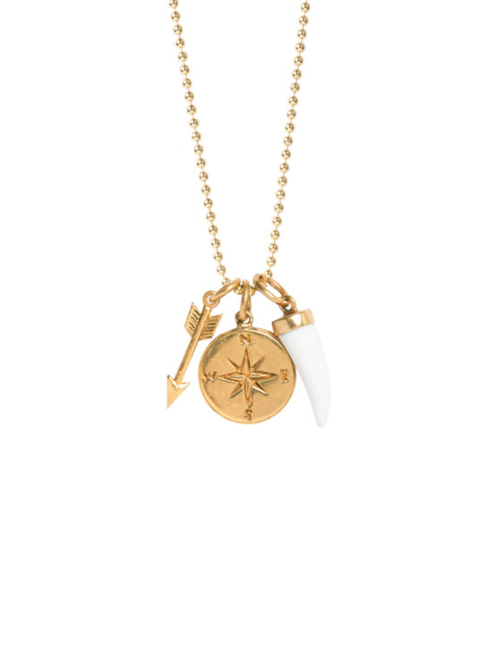 Arrow Horn And Compass Charm Necklace