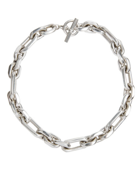 Large Silver Plated Watch Chain Necklace
