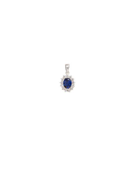 Saphire And Diamond Imitation Pendant