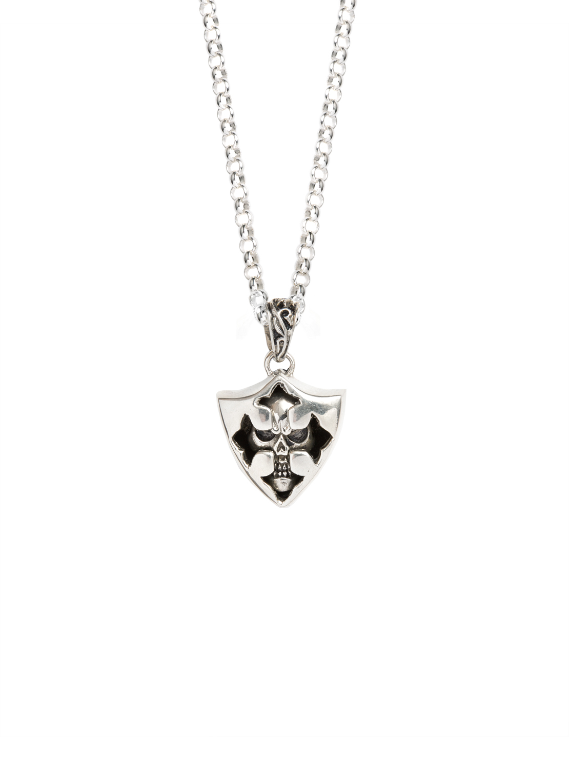 68540b7b233 Silver Skull Shield Necklace - Tilly Sveaas Jewellery