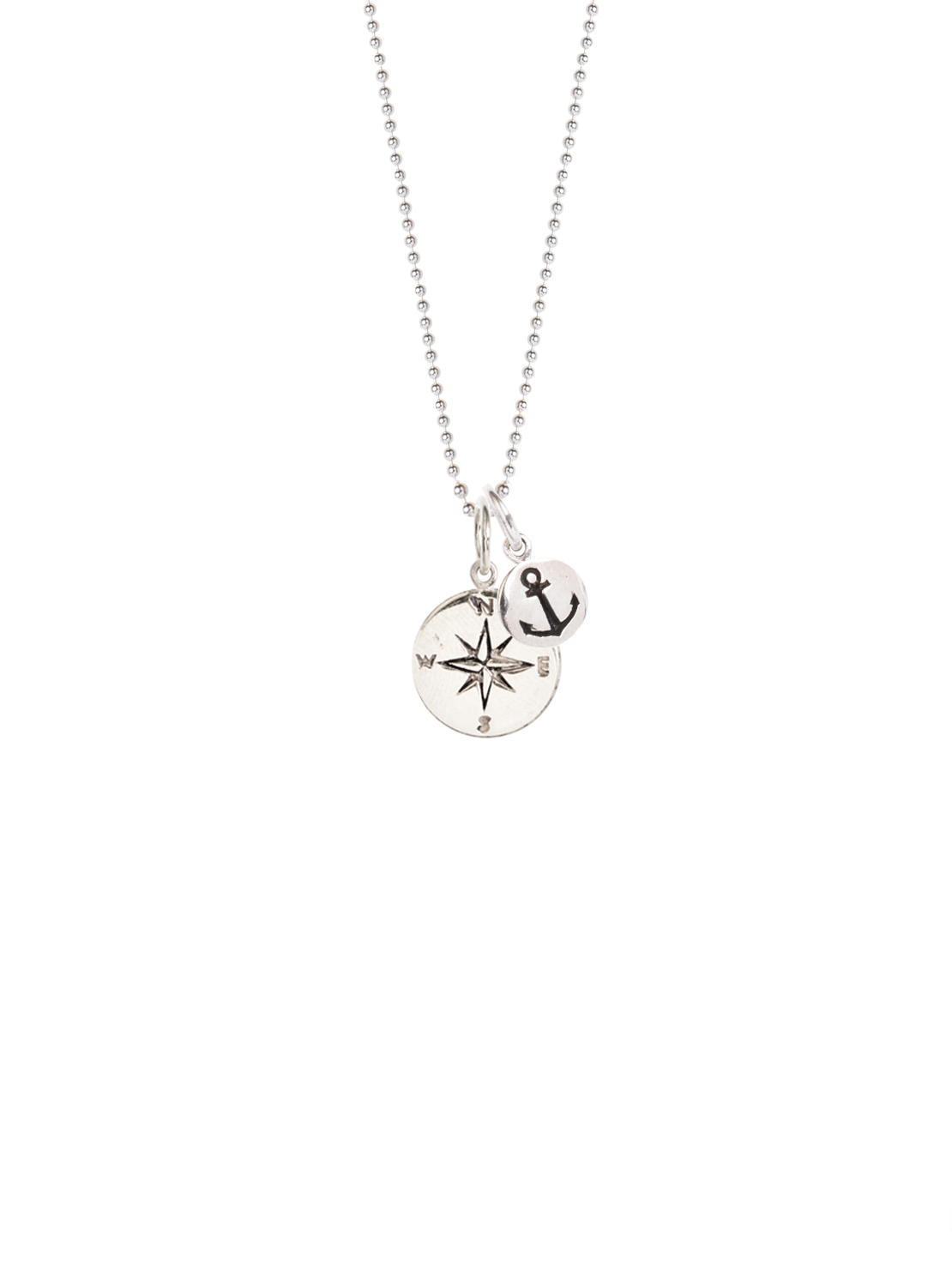 Silver compass and silver anchor necklace tilly sveaas jewellery lightbox aloadofball Images