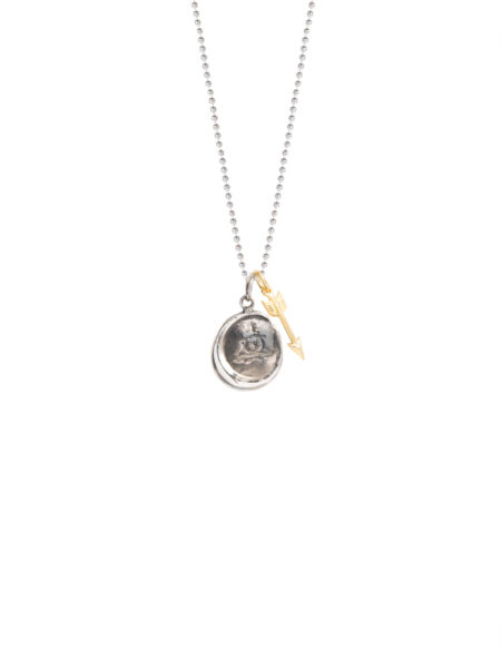 Silver Wax Seal And Arrow Necklace