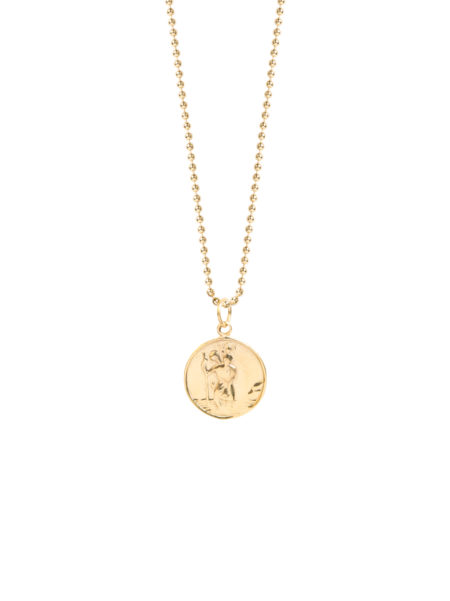 Large Gold St Christopher On Ball Chain