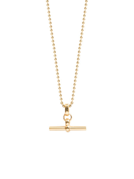 Small Gold T-Bar On Ball Chain