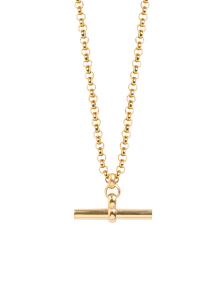 Medium Gold T-Bar On Chunky Gold Belcher Chain