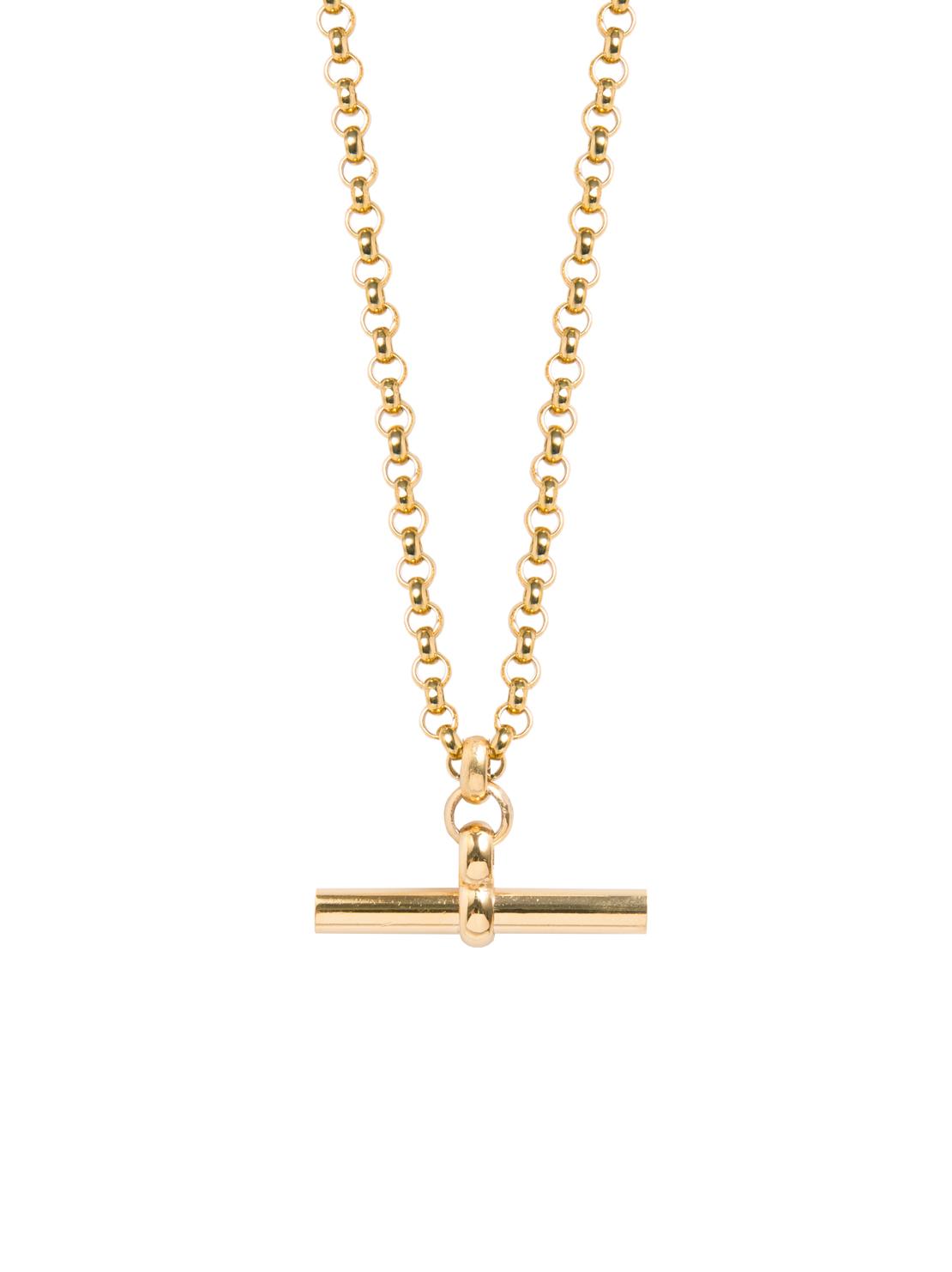 66453b86f95361 Medium Gold T-Bar On Chunky Gold Belcher Chain - Tilly Sveaas Jewellery