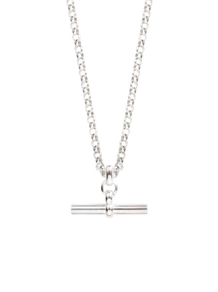 Medium Silver T-Bar On Chunky Silver Belcher Chain