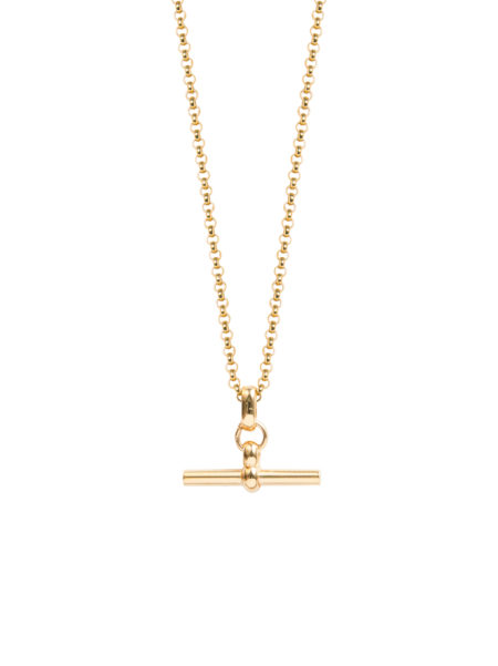 Small Gold T-Bar On Fine Gold Belcher Chain