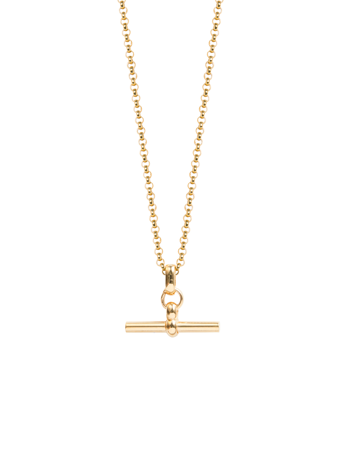 Small Gold T Bar On Fine Gold Belcher Chain Tilly Sveaas Jewellery