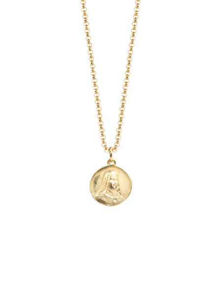 Large Gold Religious Medal On Belcher Chain