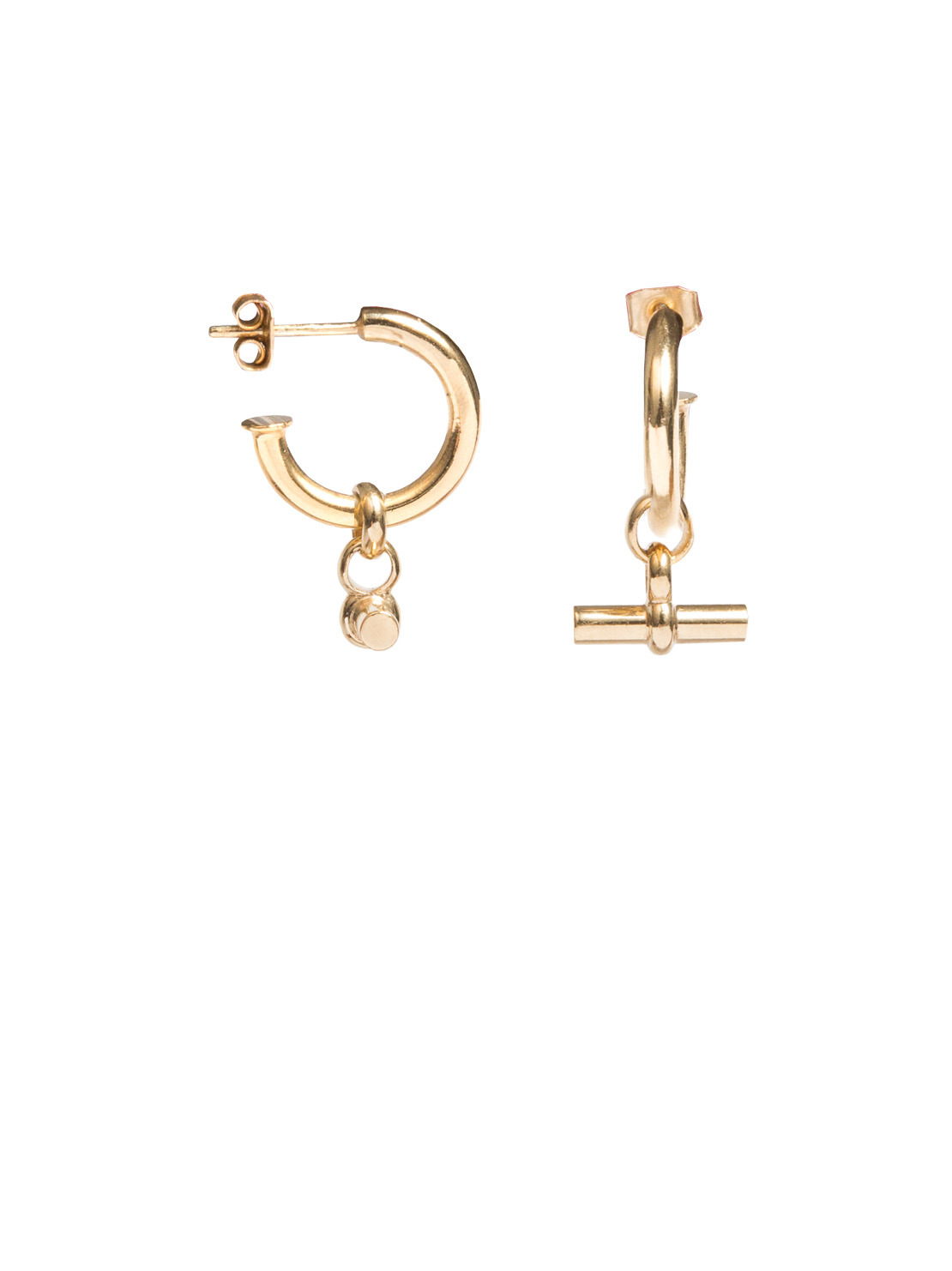 4230d72d7 Small Gold Hoop Earrings With Small Gold T-Bar - Tilly Sveaas Jewellery