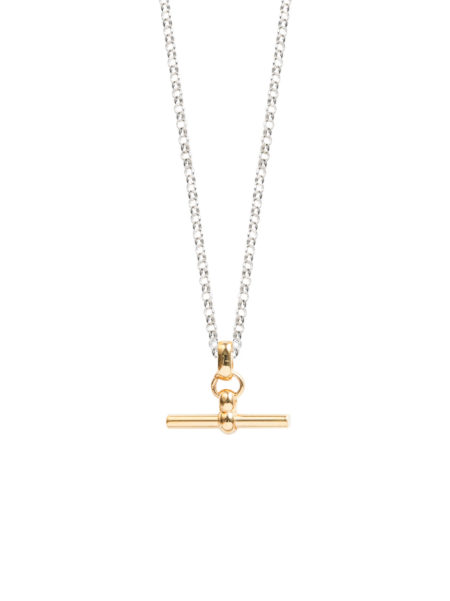 Gold And Silver T-Bar Necklace