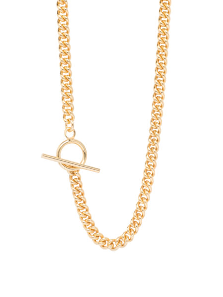 Men's Gold Chunky T-Bar Curb Link Necklace