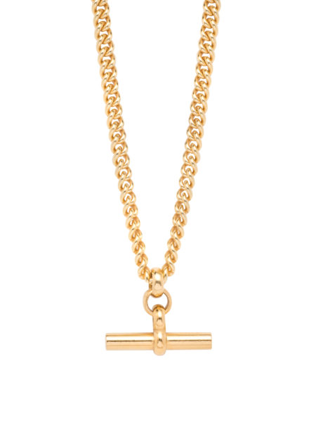 Gold T-Bar Curb Link Necklace