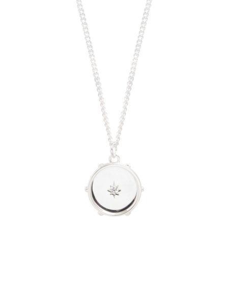 Silver Diamond Disc On Curb Chain