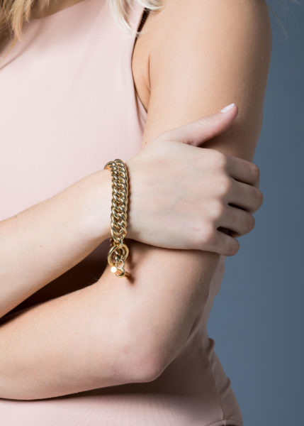 Large Gold Curb Link Bracelet