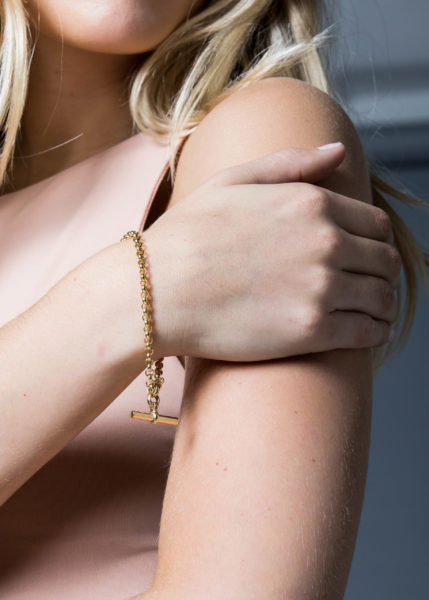 Gold Belcher Bracelet With Gold T-Bar
