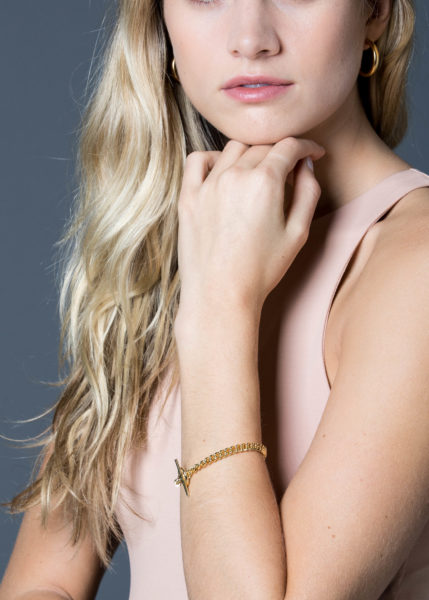 Gold Curb Link Bracelet With Gold Disc
