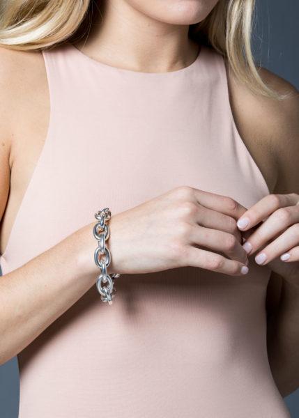 Large Silver Round Linked Bracelet