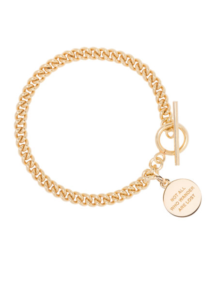 Gold Curb Link Bracelet With Compass