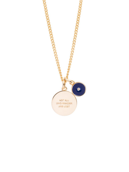 Not All Who Wander / Enamel Disc Charm Necklace